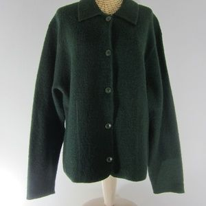 Vtg Charter Club L Green Boiled Wool Jacket
